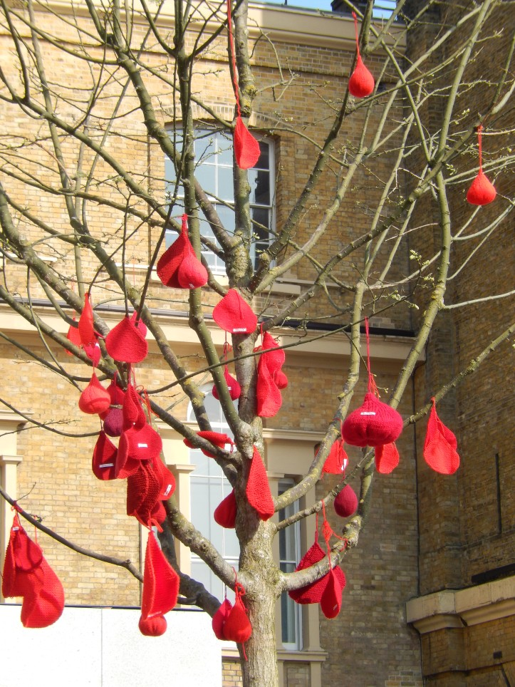 """Knitted """"blood drops"""" for the NHS """"Blood Does Not Grow on Trees"""" blood donation campaign"""